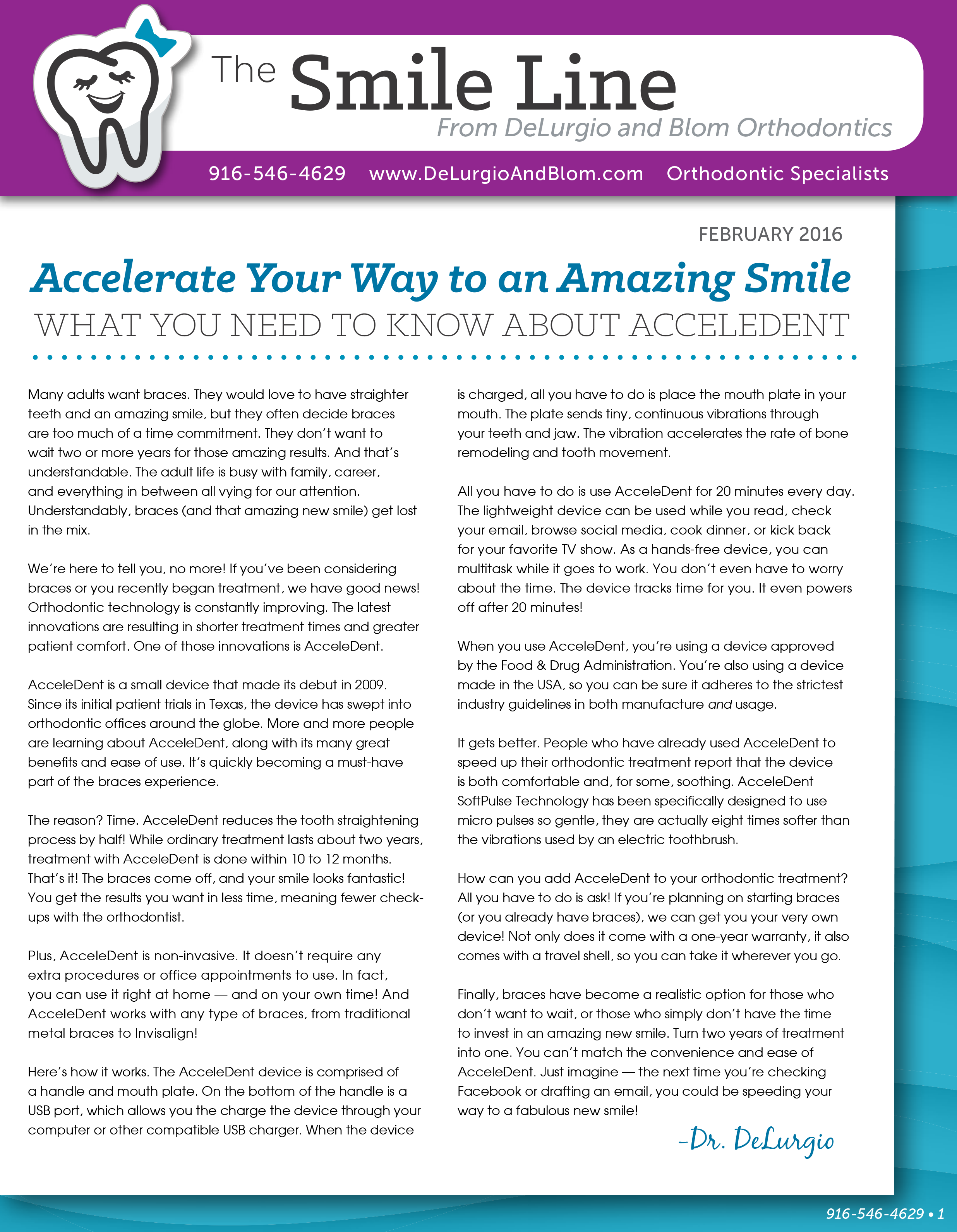 delurgio and blom orthodontics newsletter february 2016